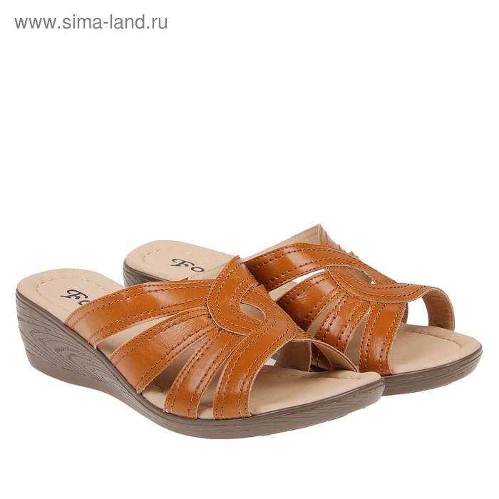 Туфли летние открытые женские Forio, цвет коричневый, размер 37, высота танкетки 5 см (арт. 35523-404-1)