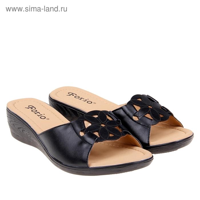 Туфли летние открытые женские Forio, цвет чёрный, размер 38, высота танкетки 5 см (арт. 35523-401-2)