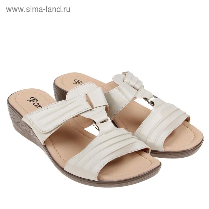 Туфли летние открытые женские Forio, цвет бежевый, размер 38, высота танкетки 5 см (арт. 35523-405-1)