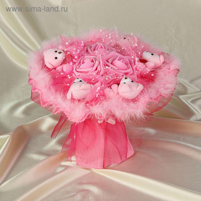 """Букет из игрушек """"Воздушный поцелуй"""" розовый"""