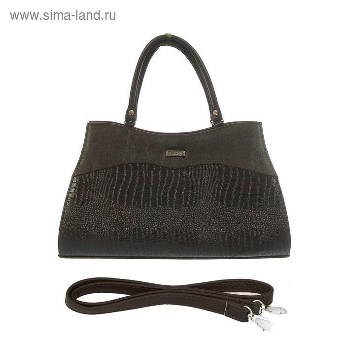 Сумка женская, 1 отдел на молнии, наружный карман, длинный ремень, коричневая