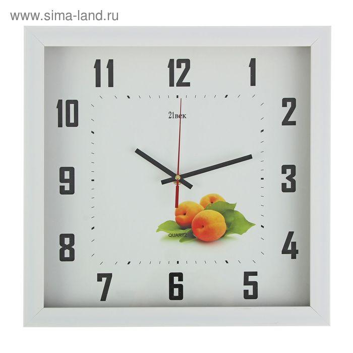 "Часы настенные квадратные в багете ""Абрикосы"", 37х37 см"