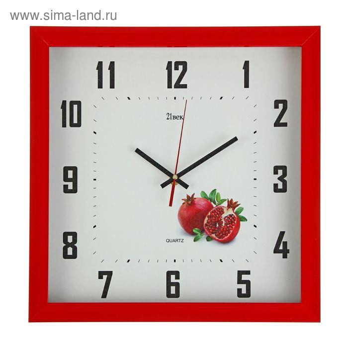 """Часы настенные квадратные в багете """"Гранат"""", 37х37 см"""