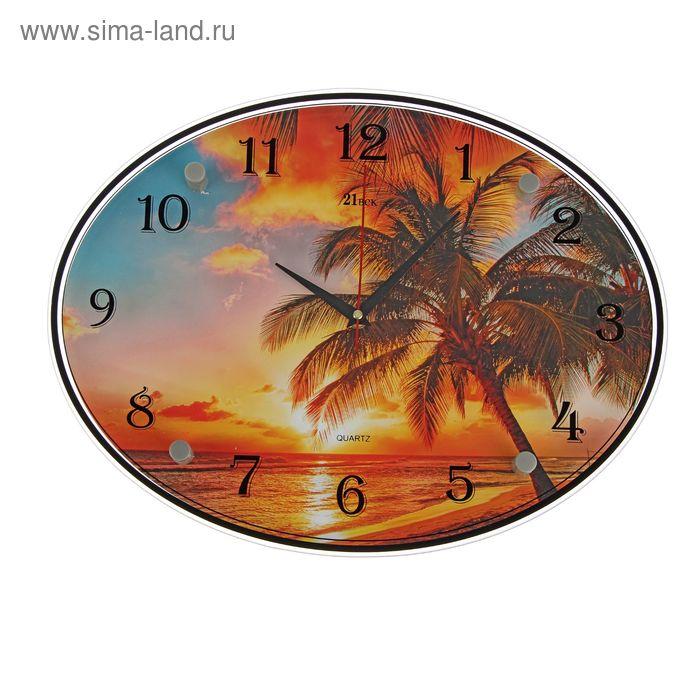 """Часы настенные овальные """"Тропический закат"""", 35х46 см"""