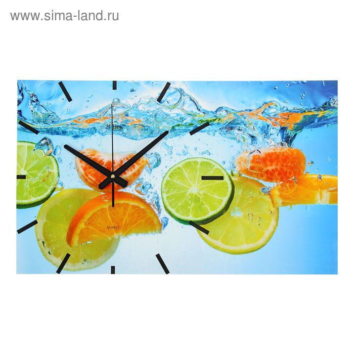 "Часы настенные прямоугольные ""Фруктовая фантазия"", 61х37 см"