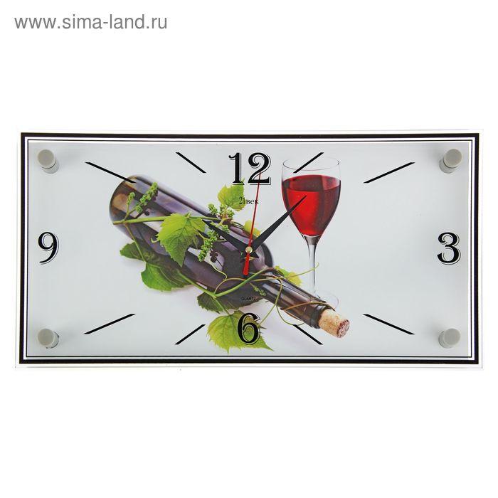 """Часы настенные прямоугольные """"Вино"""", 19х39 см"""