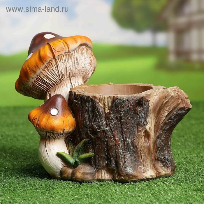 """Садовая фигура с кашпо """"Пень с грибами"""""""
