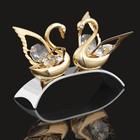 Сувенир «Два лебедя» на изогнутой подставке, с кристаллами Сваровски, 6 см