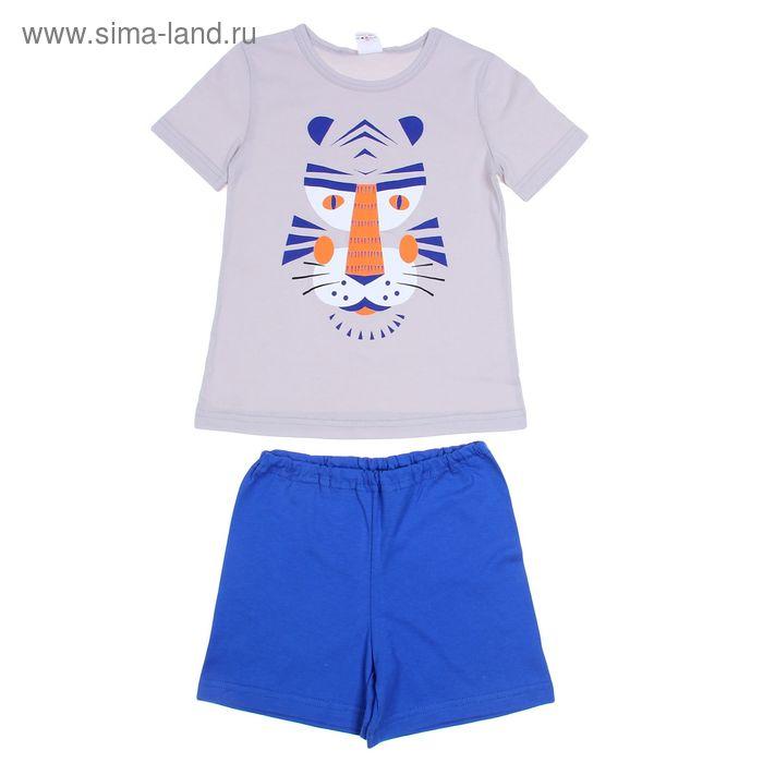 Пижама для мальчика, рост 80-86 см (26), цвет светло-серый/синий (арт. Р207704)
