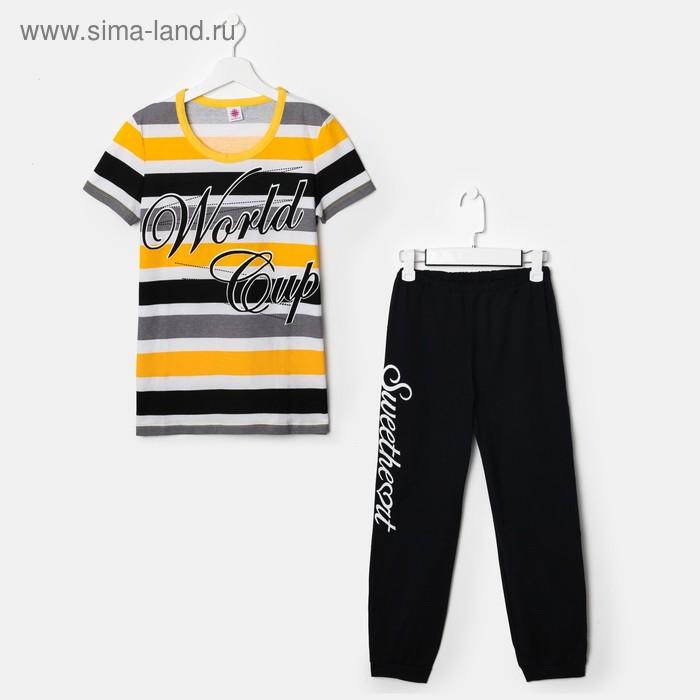 Комплект для девочки (футболка, бриджи), рост 146-152 см (36), рост цвет чёрный/жёлтый/белый (арт. Р607758)