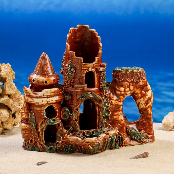 """Декорации для аквариума """"Замок с домиком"""""""