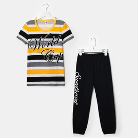 Комплект для девочки (футболка, бриджи), рост 146 см (38), рост цвет чёрный/жёлтый/белый (арт. Р607758)