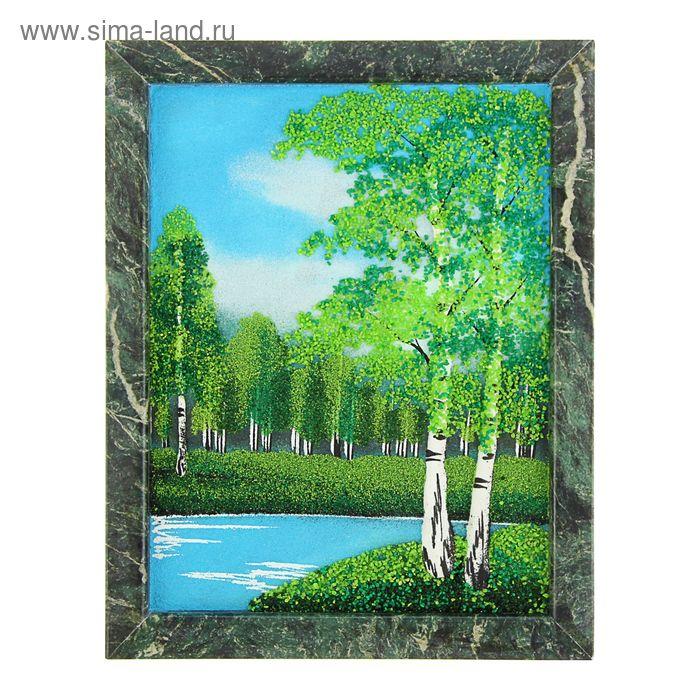 """Картина в рамке из натурального камня """"Лето"""" №2 19 х 24 см"""