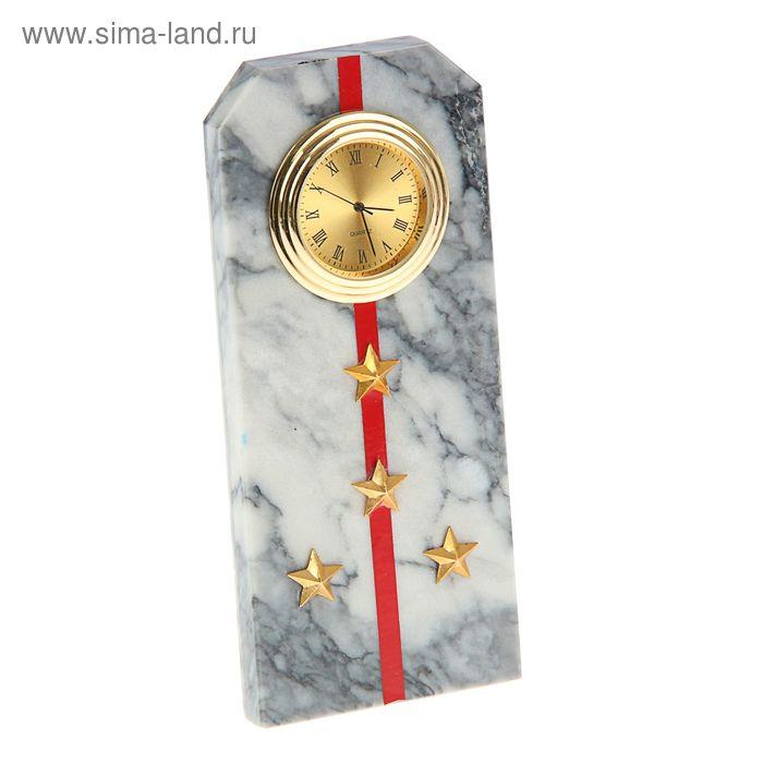 """Часы """"Погон-капитан""""  из мрамора, с красными просветами из оракала 60 х 45 х 150 мм"""