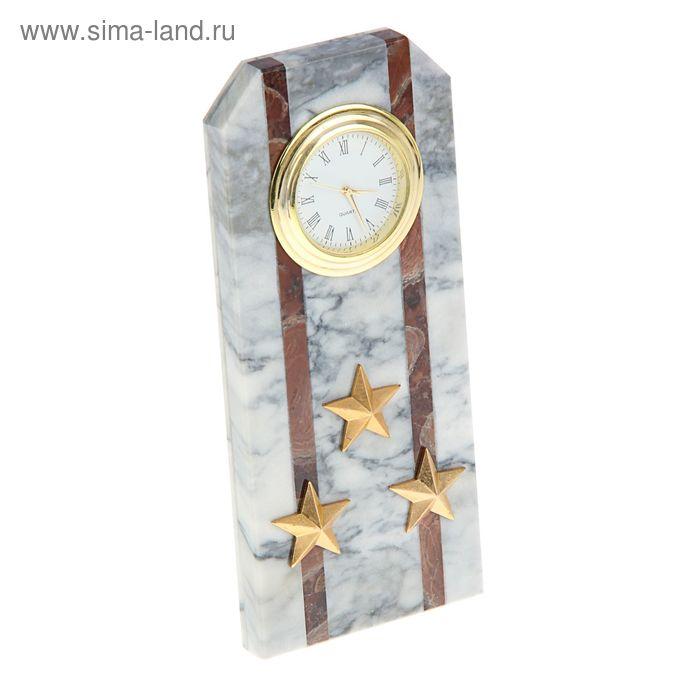 """Часы """"Погон-полковник"""" 60 х 45 х 150 мм, мрамор"""