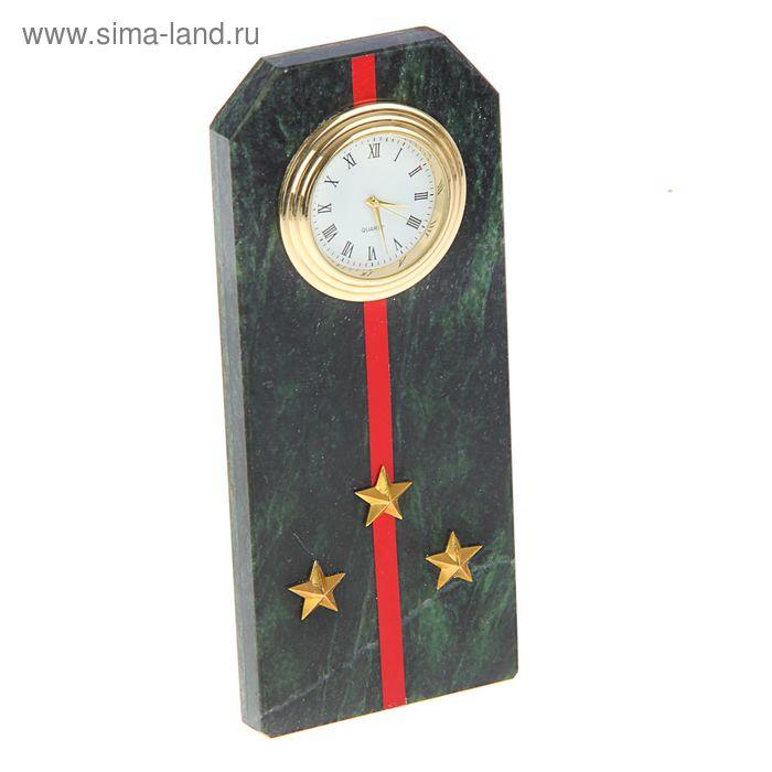 """Часы """"Погон-старший лейтенант""""   из змеевика с красными просветами из оракала 60 х 45 х 150 мм   133"""