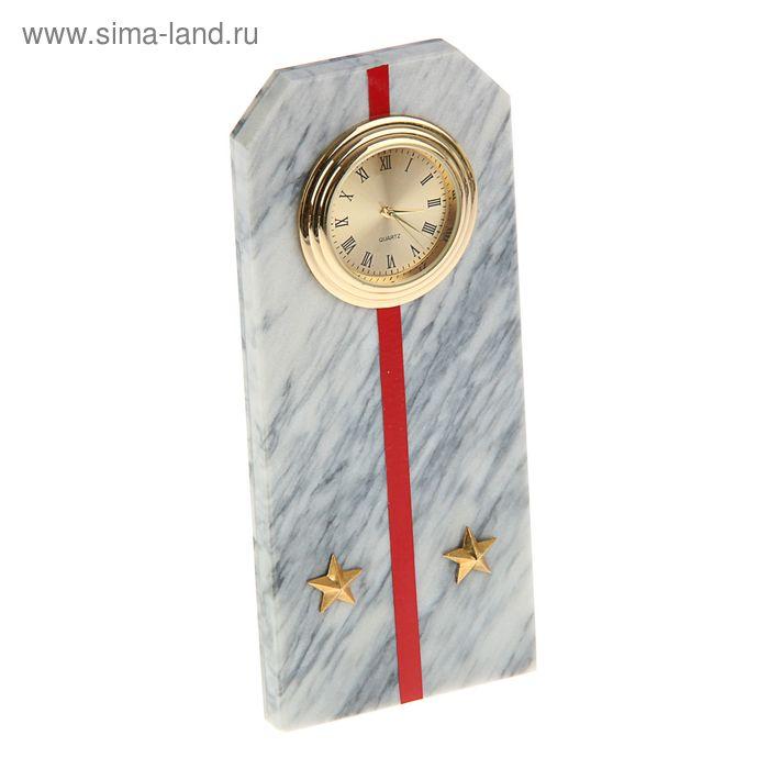 """Часы """"Погон-лейтенант""""  из мрамора, с красными просветами из оракала 60 х 45 х 150 мм"""