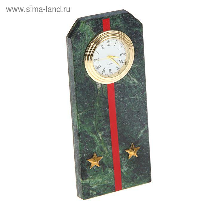 """Часы """"Погон-лейтенант""""  из змеевика с красными просветами из оракала 60 х 45 х 150 мм"""