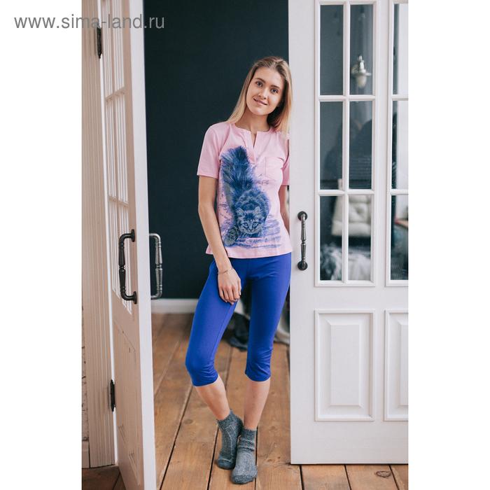 Комплект женский (футболка, бриджи) М-170/1-09 роза, василек, р-р 50
