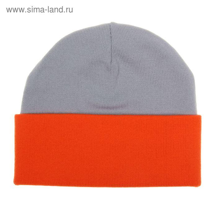 Шапка мужская RYH5724, размер 57-59, цвет св.серый/оранжевый