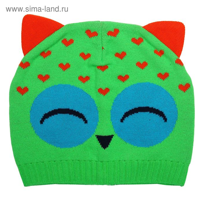 Шапка для девочки MGH5610, размер 50-52 (от 3-х лет), цвет зеленый/терракот