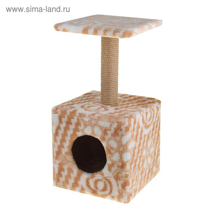 Домик «Квадратный-малый» с низкой полкой джут, 30 х 30 х 59 см, микс цветов