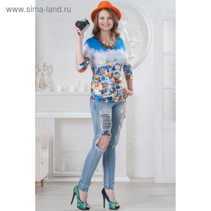 Блуза женская, размер 52, рост 164 см, цвет синий/оранжевый/белый (арт. 4565 С+)