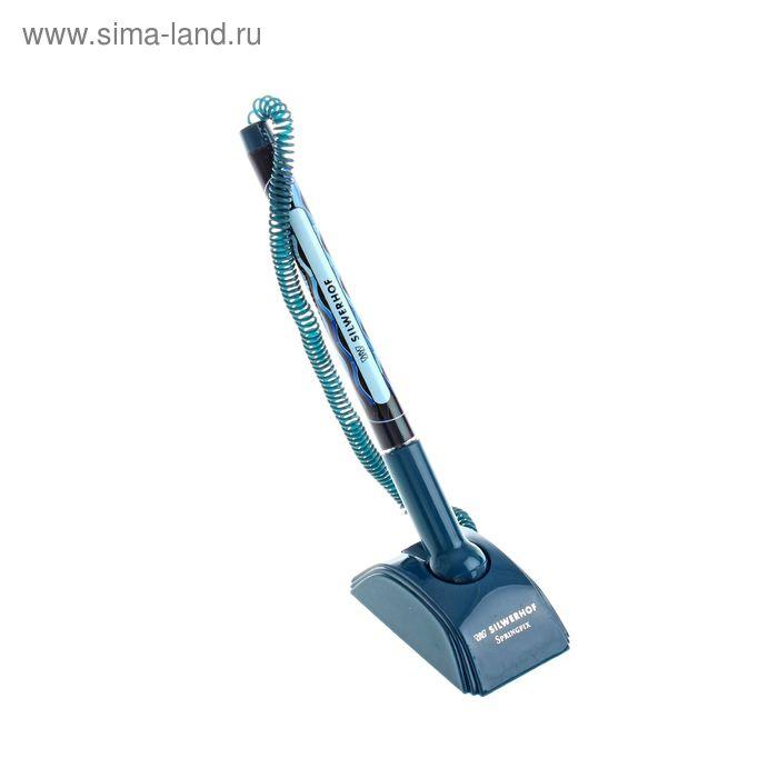 Ручка гелевая на подставке Silwerhof SPRINGFIX, синяя, узел 0.5мм, европодвес