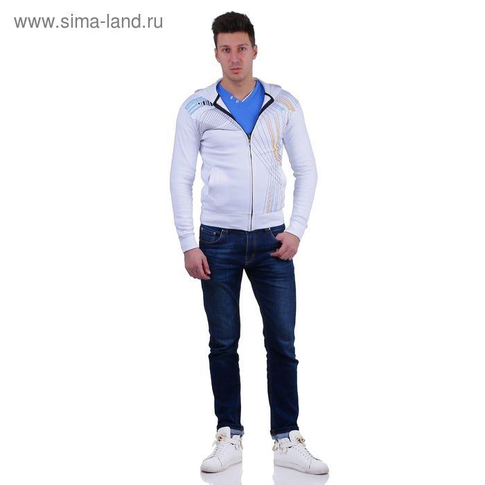 Куртка спортивная мужская, цвет белый, размер M, интерлок (арт. 514)