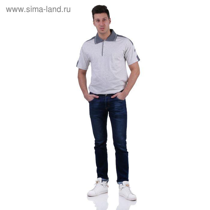 Футболка мужская поло, цвет светло-серый меланж, размер XL, супрем (арт. 326)