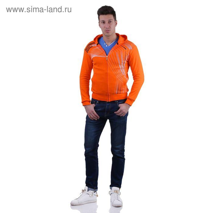 Куртка спортивная мужская, цвет оранжевый, размер XXL, интерлок (арт. 514)