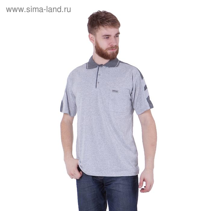 Футболка мужская поло, цвет серый меланж, размер L, супрем (арт. 326)
