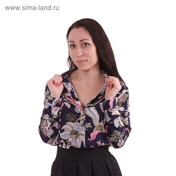 Блузка женская, размер 50 (XL), рост 170 см, цвет тёмно-синий (арт. 40200260047 С+)
