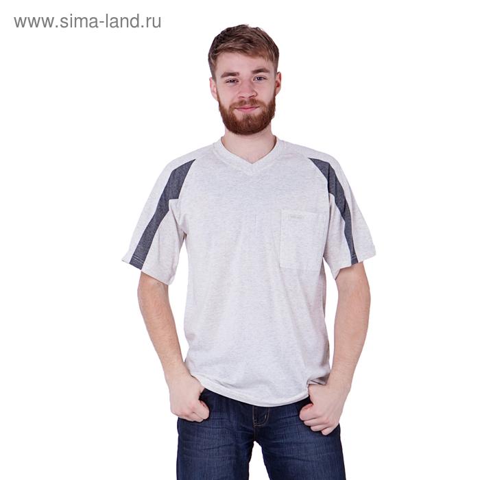 Футболка мужская, цвет светло-серый меланж, размер XXL, супрем (арт. 302)