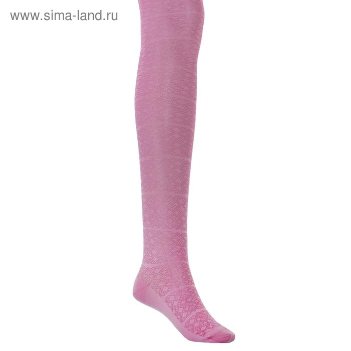 Колготки детские с ажурным эффектом, рост 128-134 см, цвет розовый 2ФС73-009
