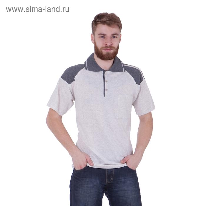 Футболка мужская поло, цвет светло-серый меланж, размер XL, супрем (арт. 307)