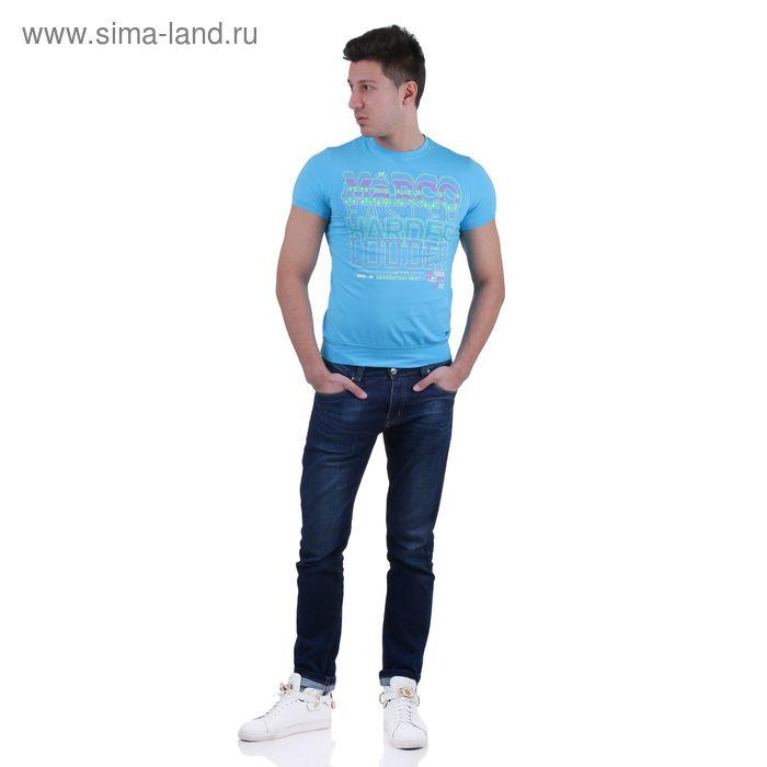 Футболка мужская, цвет голубой/принт, размер XL, супрем, фуллайкра (арт. 857-14)