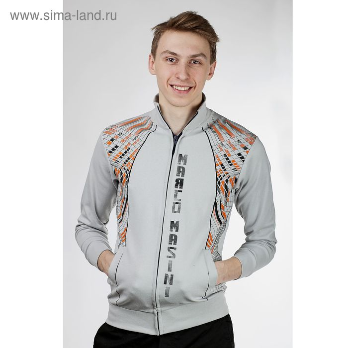 Куртка спортивная мужская, цвет тёмно-серый, размер L, интерлок (арт. 515)