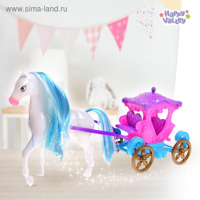 """Карета куколки-малышки """"Для принцессы"""", с лошадкой и аксессуарами, БОНУС - куколка картонная, вырезная одежда"""