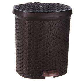 """Контейнер для мусора 6 л с педалью """"Плетеный"""", цвет коричневый"""