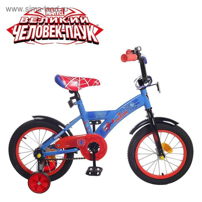 """Велосипед двухколесный 14"""" GRAFFITI """"ЧЕЛОВЕК ПАУК"""", цвет: синий"""