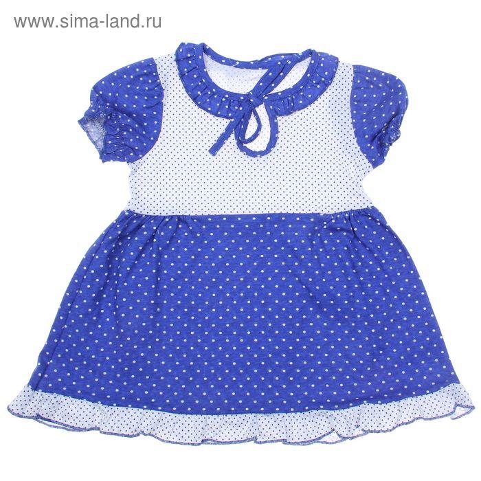 Платье для девочки, рост 80 см (50), цвет белый/синий/горох ДПК461001н