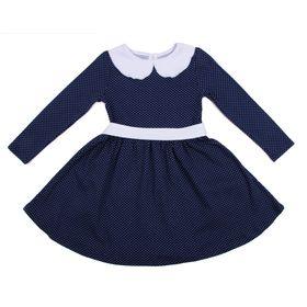 Платье для девочки, рост 104 см (54), цвет синий/белый/горох (арт. ДПД848067н)