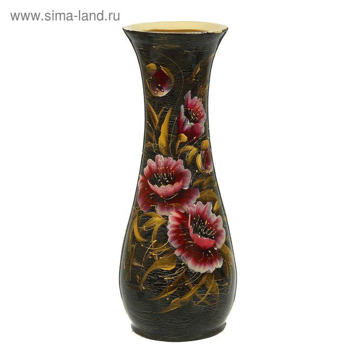 """Ваза напольная """"Осень"""" кракелюр, чёрная, цветы, микс"""