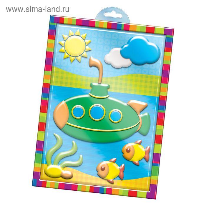 """Аппликация пластилином """"Подводная лодка"""" в пластиковой форме + 6 цв.пластилина по 10 гр,стек"""