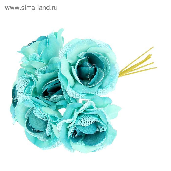 """Декор для творчества """"Розы с сеточкой"""" (1 набор=1 букету) в букете 6 цветов МИКС 10х3,5 см"""