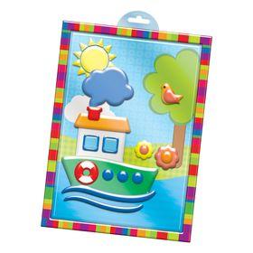 """Аппликация пластилином """"Кораблик"""" в пластиковой форме + 6 цветов пластилина по 10 гр, стек"""
