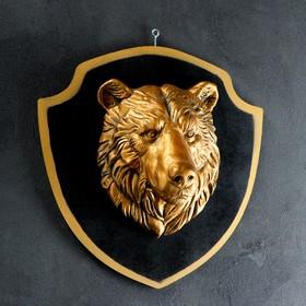 Панно 'Голова медведя' бронза, чёрный щит Ош