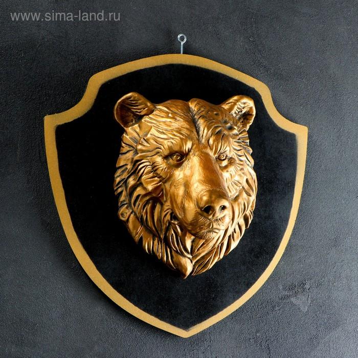 """Панно """"Голова медведя"""" бронза, чёрный щит"""
