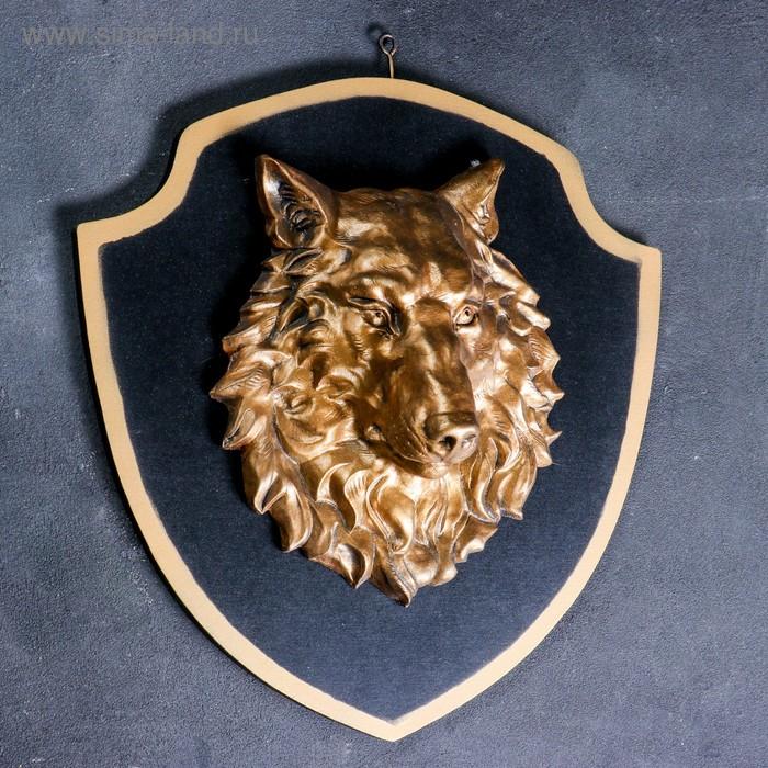 """Панно """"Голова волка"""" бронза, чёрный щит"""